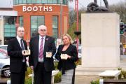 Andrew Edmondson of Booths, Malcolm Smith MBE from SSAFA Lancashire and Tilly Carefoot