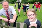 School site manager David Hourihan who was nominated by Grace Manion, with fellow Stramongate pupils