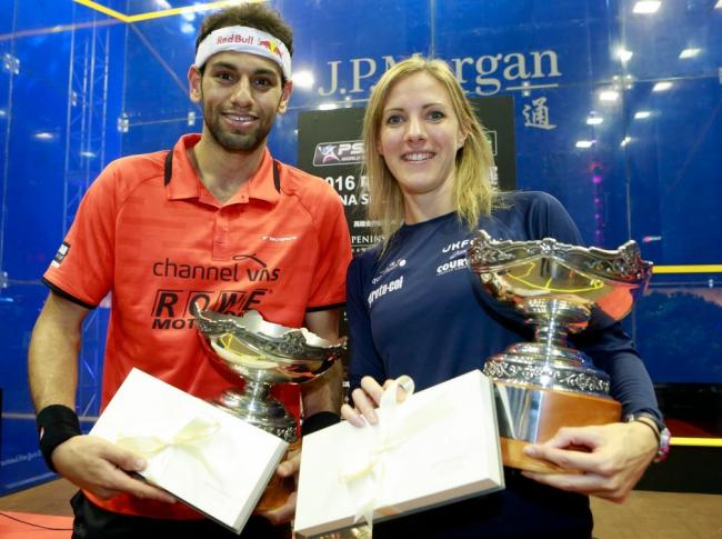 CHINESE TAKEAWAY: Laura Massaro and Mohamed Elshorbagy who won the China Open