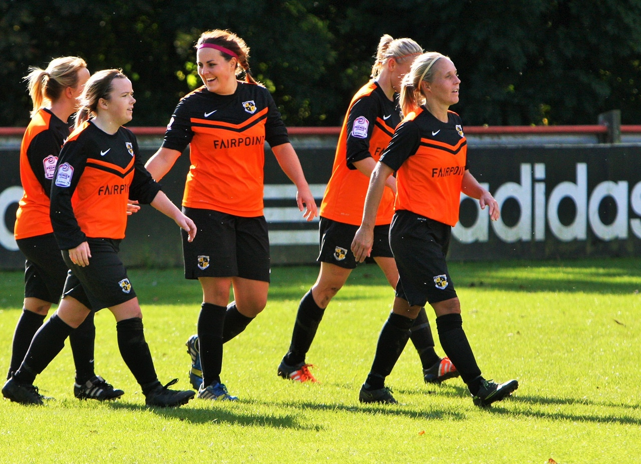 Chorley Ladies celebrate their goal. Pics by Keith Bowes