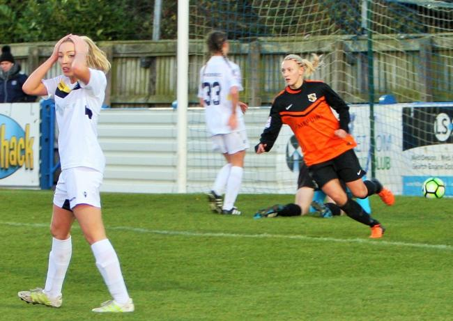 Rach Wood celebrates after scoring. Pics by Keith Bowes