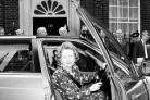 Margaret Thatcher getting behind the wheel