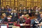 Prime Minister Theresa May sits behind the Speaker, back row, as Baroness Smith of Basildon speaks in the House of Lords