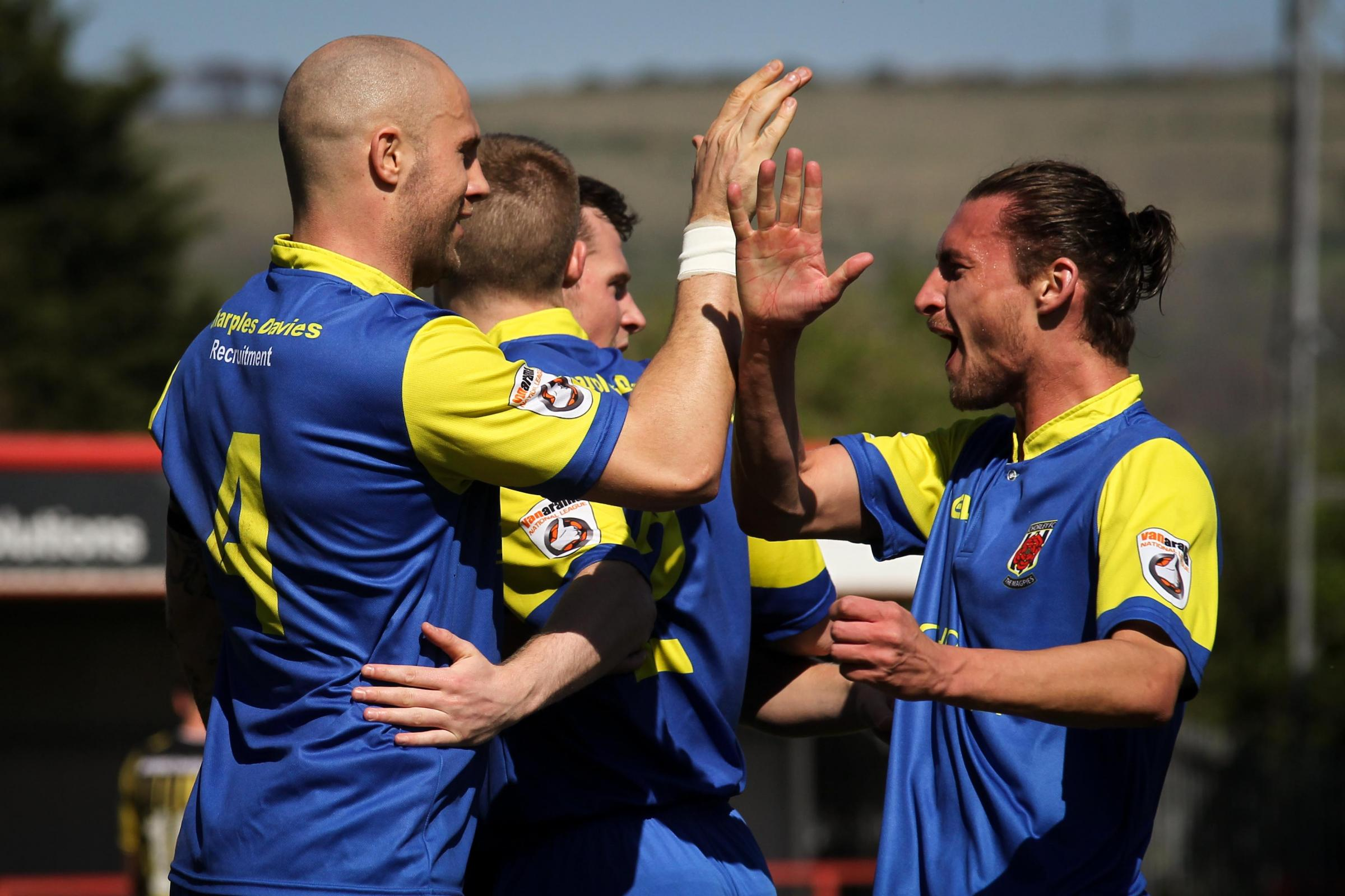 Dale Whitham celebrates with his team-mates. Pic by Josh Vosper