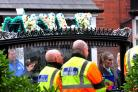 Photo: David HurstBike marshals at the funeral of Kyle Buckley held at St Bede's Church, Normanby Street, Bolton.
