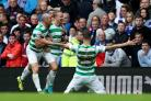Leigh Griffiths celebrates scoring Celtic's second goal against Rangers