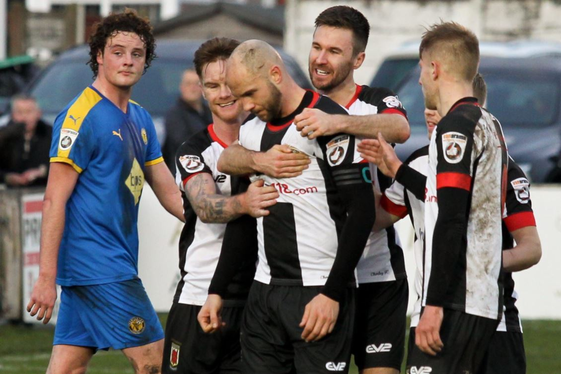 Chorley players celebrate with Andy Teague, pics by Josh Vosper