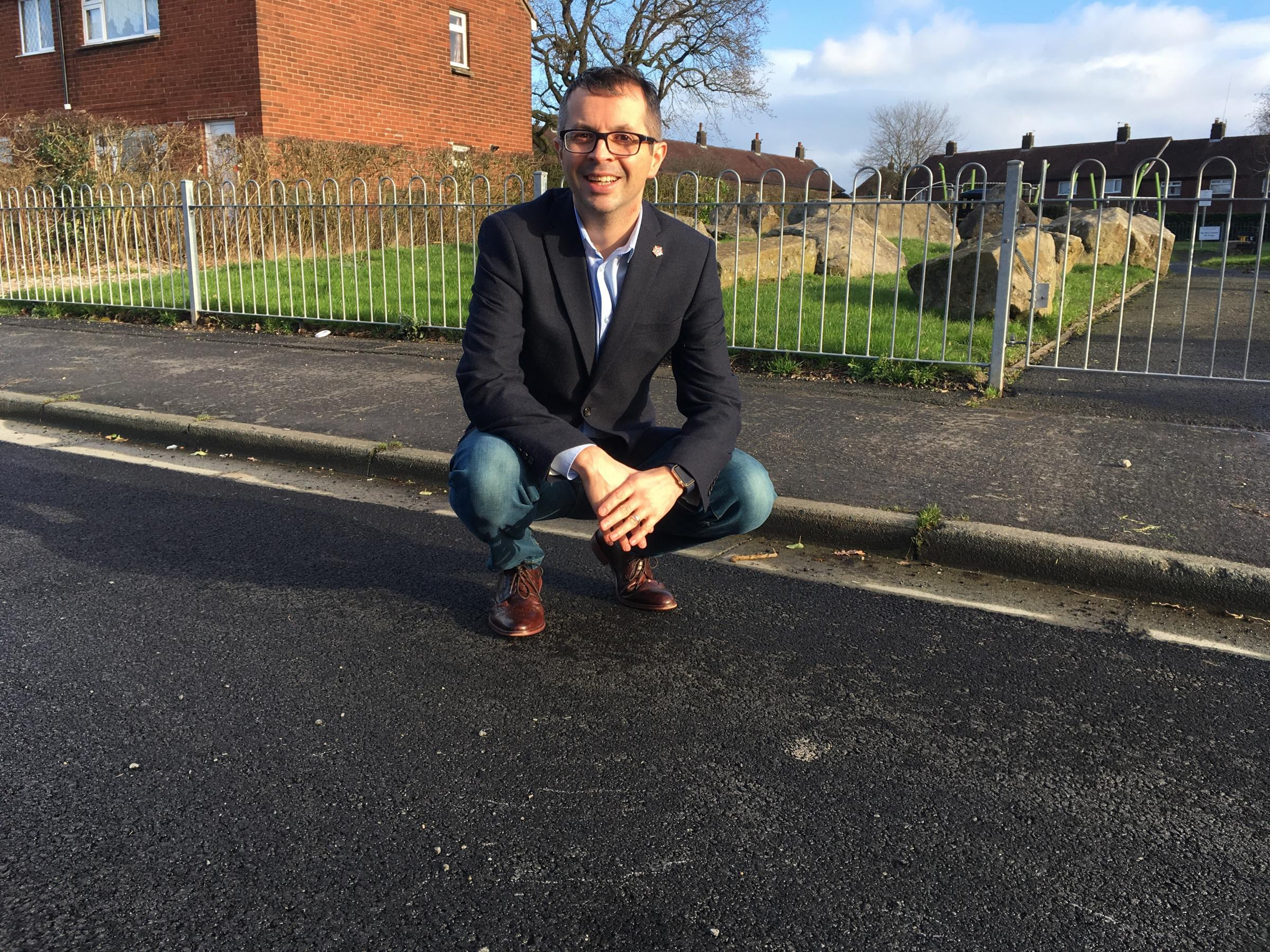 Cllr Aidy Riggott on Greenside with the new road improvements