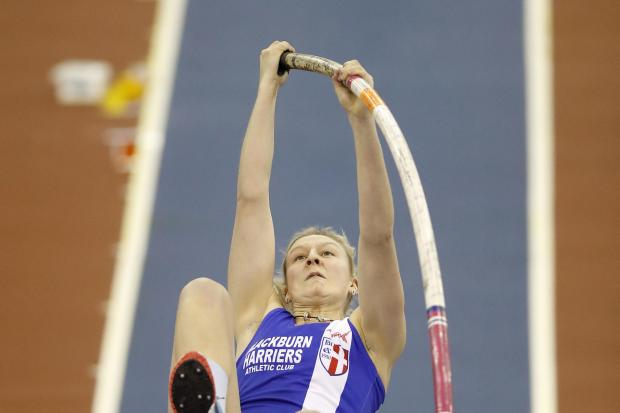 Holly Bradshaw in action on her way to winning the Women's Pole Vault, during day one of the SPAR British Athletic Indoor Championships at Arena Birmingham.PRESS ASSOCIATION Photo. Picture date: Saturday February 9, 2019. See PA story ATHLETICS Birmi