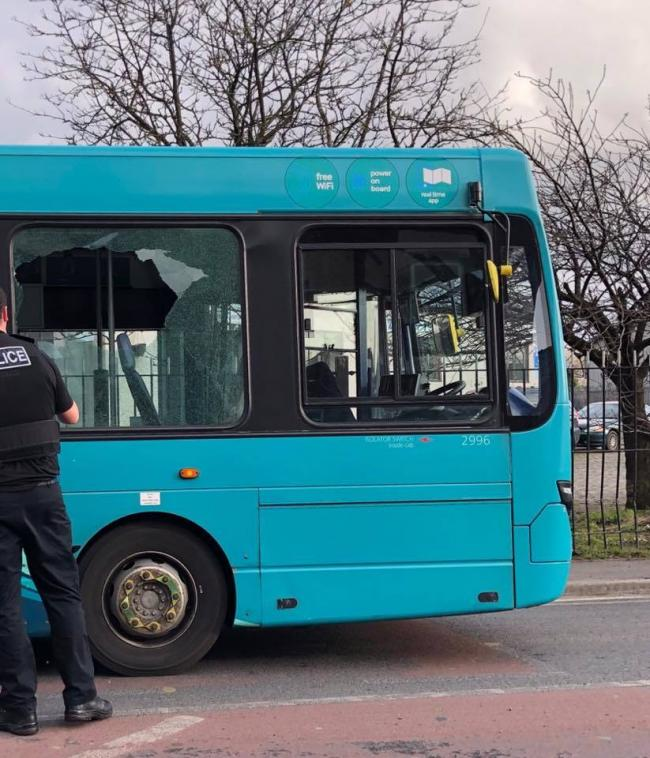 This bus had to be taken out of service after its window was smashed by teenager's throwing stones