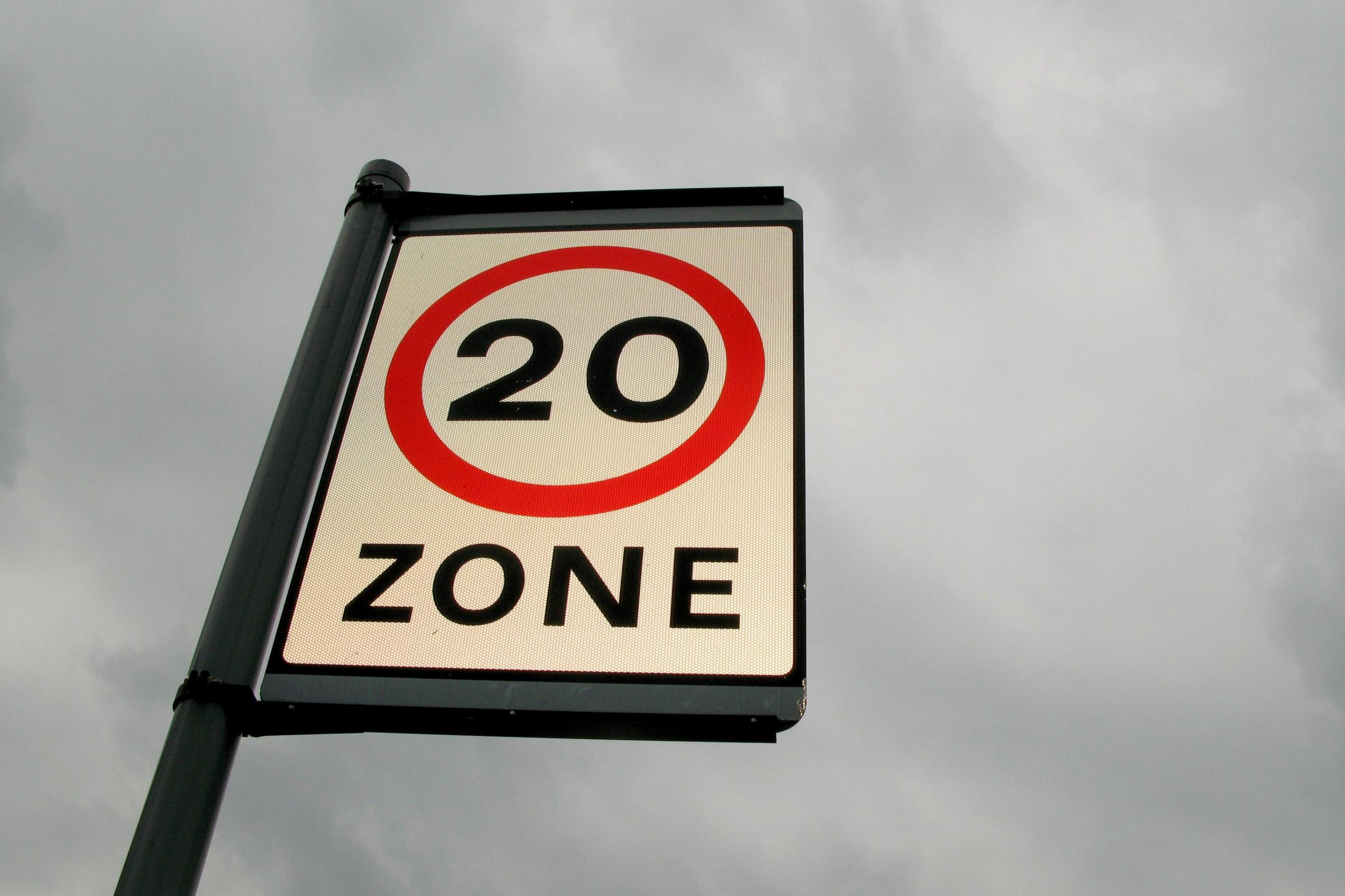 20mph limit road sign