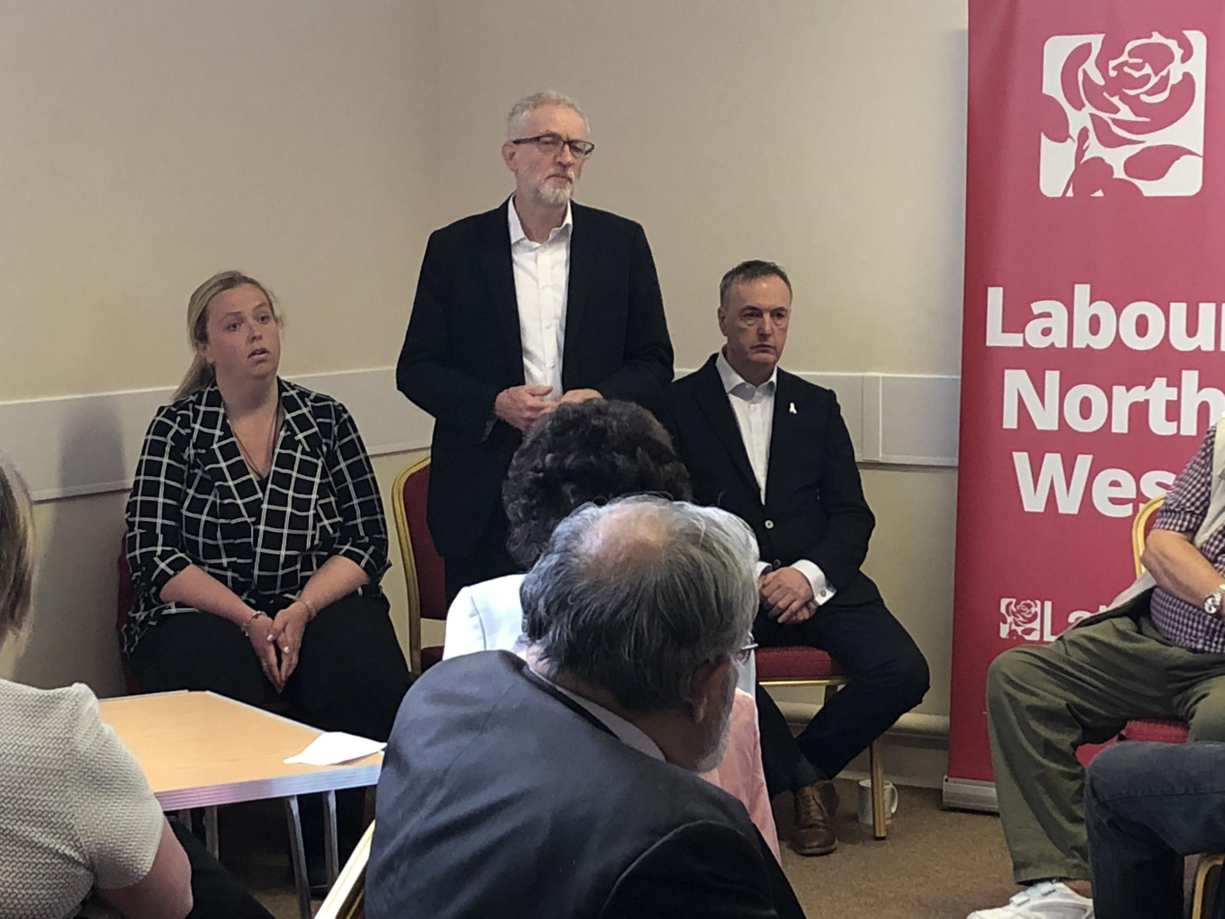 Jeremy Corbyn addresses the meeting of residents along with Kim Snape and Clive Grunshaw