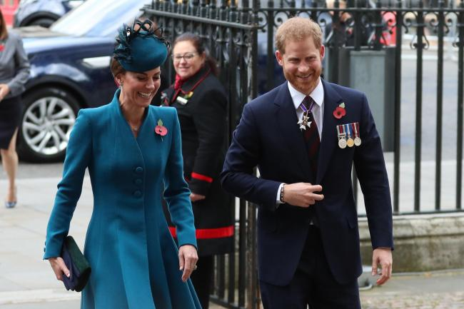 The Duchess of Cambridge and the Duke of Sussex attend the Anzac Day service of commemoration and thanksgiving at Westminster Abbey